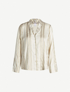 HANRO Aria striped satin pyjama shirt