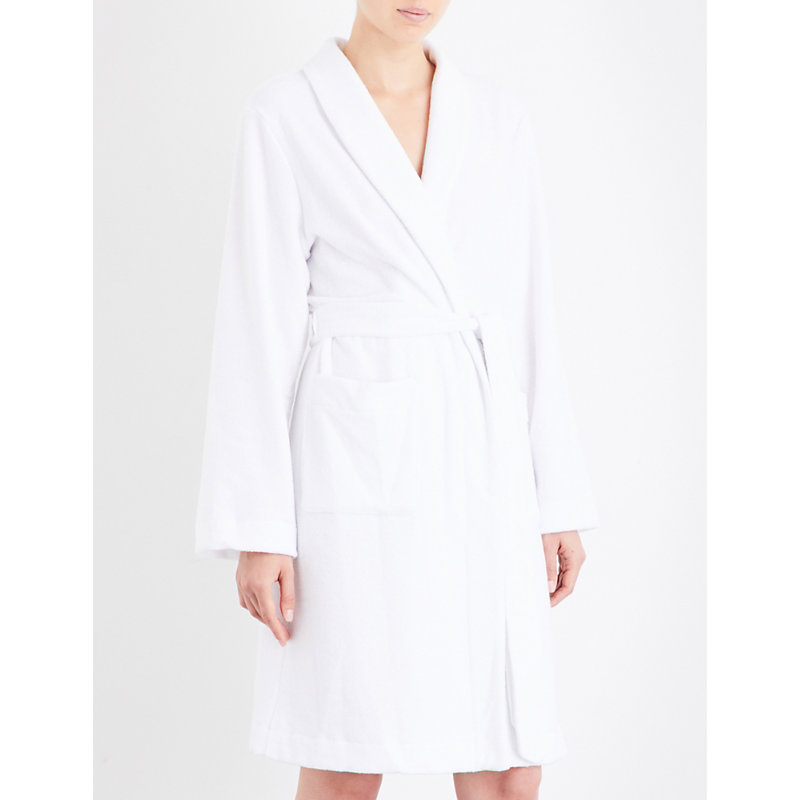 Hanro Plush Towelling Dressing Gown In White Modesens