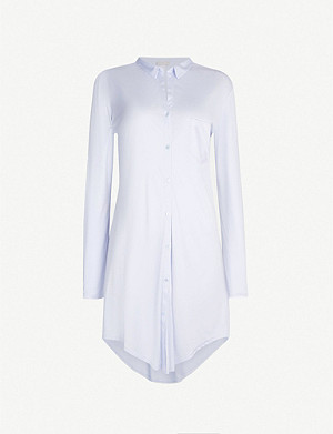 HANRO Grand Central long-sleeved jersey and stretch-silk nightshirt