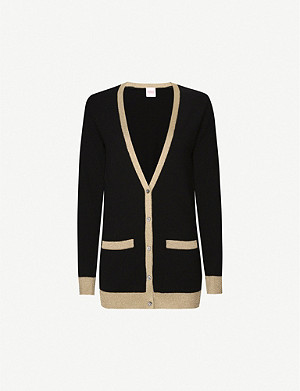 MADELEINE THOMPSON Pontus cashmere metallic trim cardigan