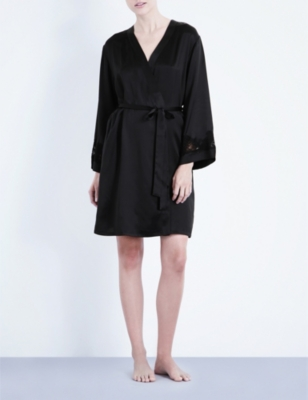 NK IMODE Morgan stretch-lace and silk-satin robe