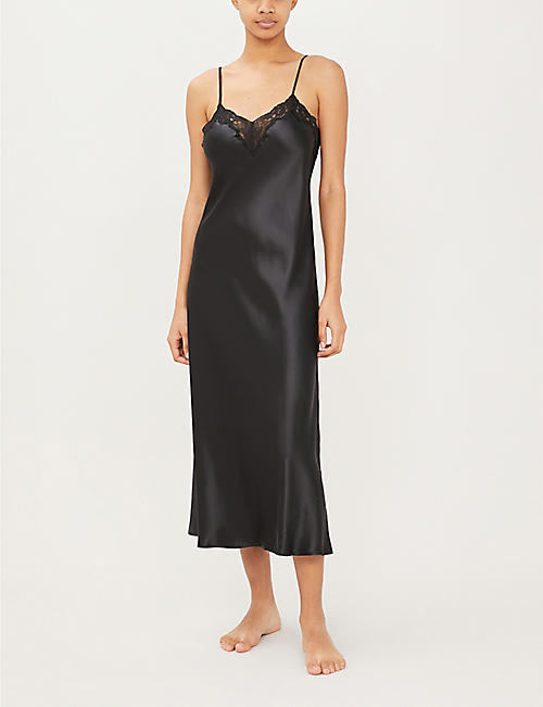 NK IMODE Morgan stretch-lace and silk-satin night dress