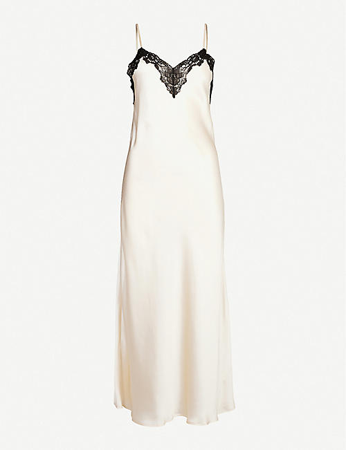 NK IMODE: Morgan stretch-lace and silk-satin night dress