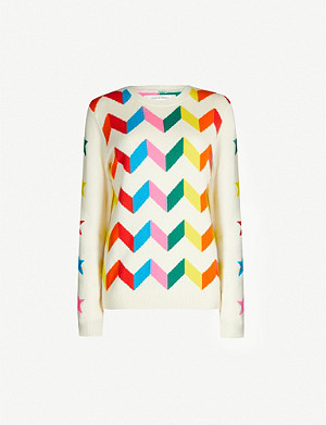 CHINTI AND PARKER Chevron-intarsia wool and cashmere-blend jumper