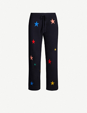 CHINTI AND PARKER Star-intarsia cropped cashmere pyjama bottoms
