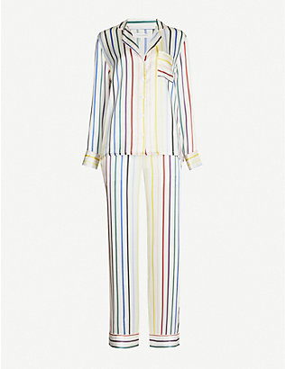 CHINTI AND PARKER: Striped silk-satin pyjama set