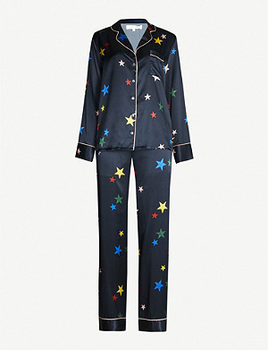 CHINTI AND PARKER Star-print silk-satin pyjama set