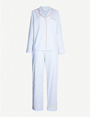 CHINTI AND PARKER: Contrast-piping cotton pyjama set