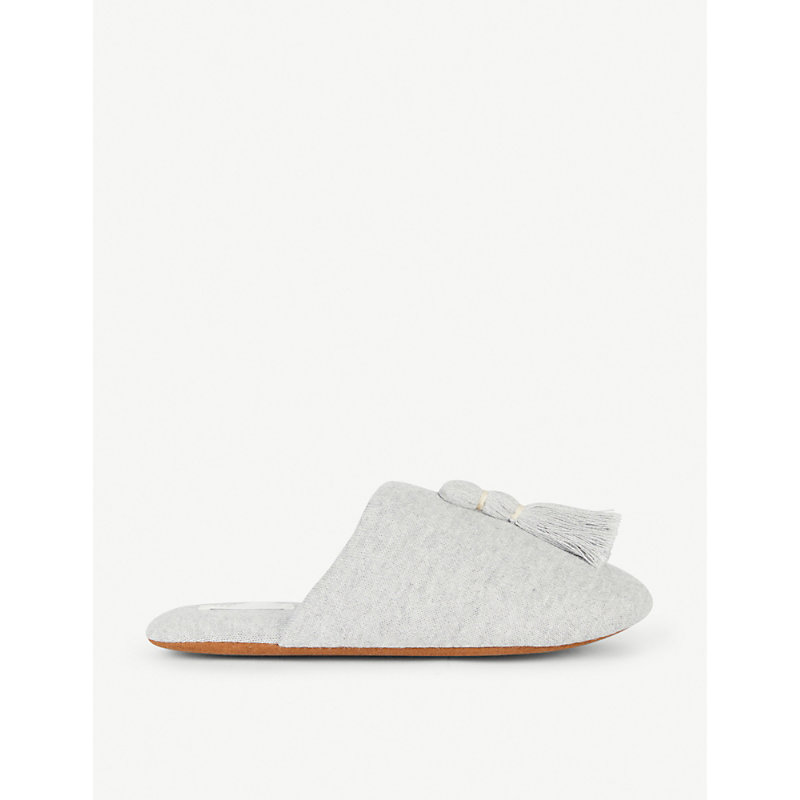 Vara Tasseled Knit Slipper With Cooling Material in Htr - Heather Grey
