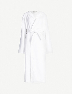 SKIN Haman hooded cotton-towelling robe