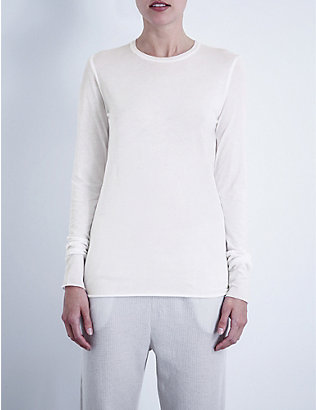 SKIN: Long-sleeved pima-cotton jersey top