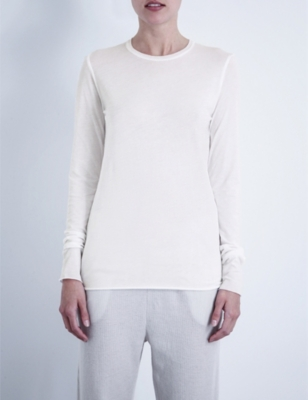 SKIN Long-sleeved pima-cotton jersey top