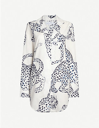 DESMOND AND DEMPSEY: Animal-print cotton sleep shirt