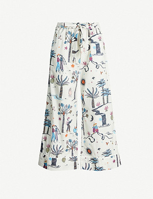 DESMOND AND DEMPSEY La Vida wide-leg cotton-poplin pyjama bottoms