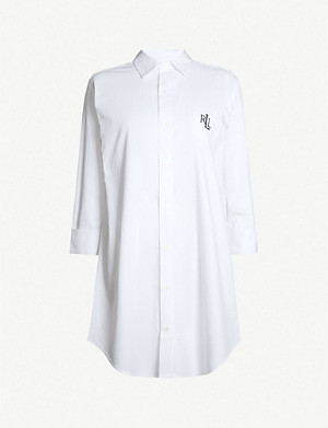 RALPH LAUREN Branded cotton pyjama shirt dress