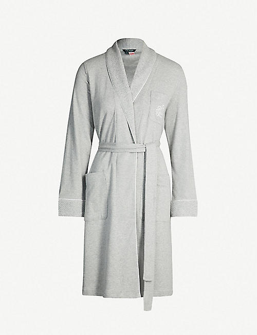 RALPH LAUREN Core quilted collar cotton-jersey dressing gown