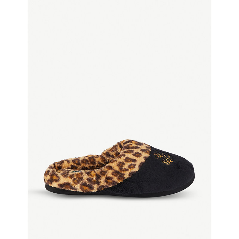 Embroidered Logo Leopard Cotton Slippers in Black Leopard