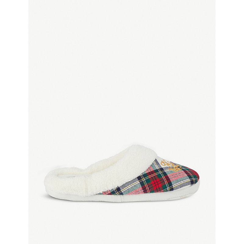 Embroidered Logo Plaid Cotton Slippers in Ivory Plaid