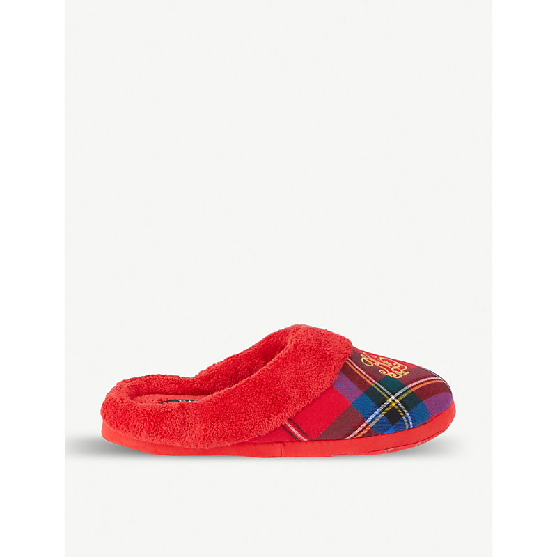 Embroidered Logo Plaid Cotton Slippers in Red Plaid