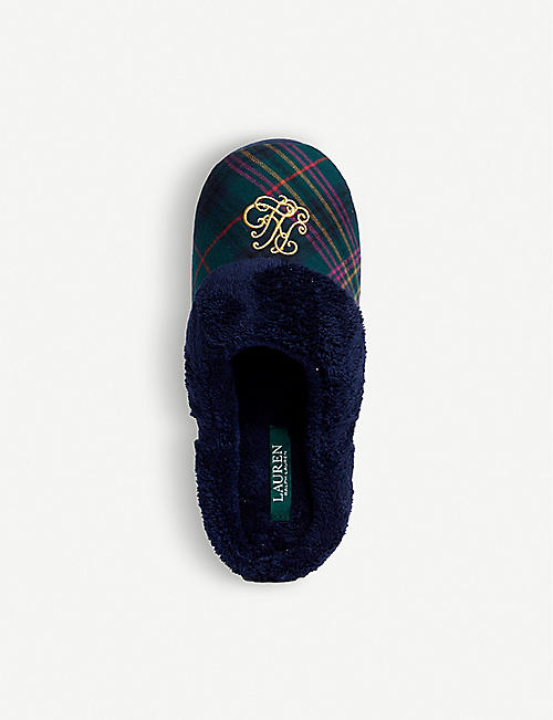 RALPH LAUREN Logo-embroidered cotton slippers