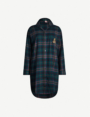 RALPH LAUREN Logo-embroidered check-print cotton-flannel night dress