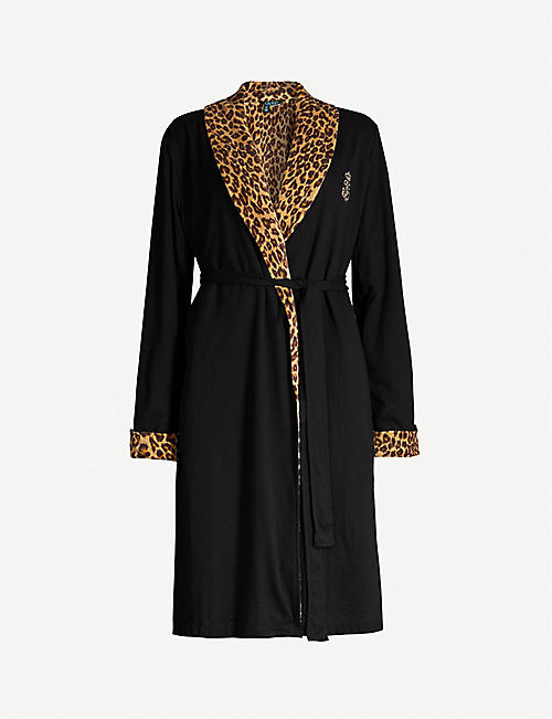 RALPH LAUREN Leopard-print cotton-blend robe