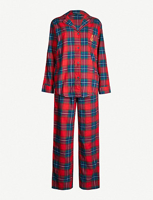 RALPH LAUREN Checked brushed cotton pyjama set