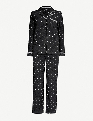 DKNY Polka dot-print fleece pyjama set