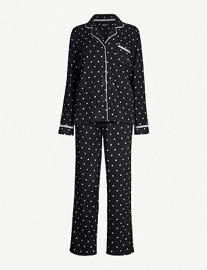 DKNY Polka dot stretch-fleece pyjama set