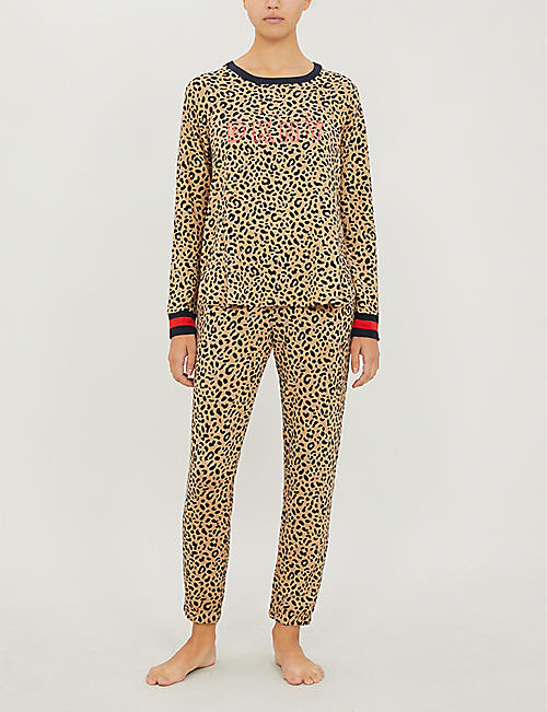 DKNY Printed stretch-jersey pyjama set