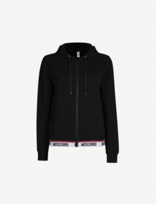 MOSCHINO Logo-trim stretch-cotton hoody
