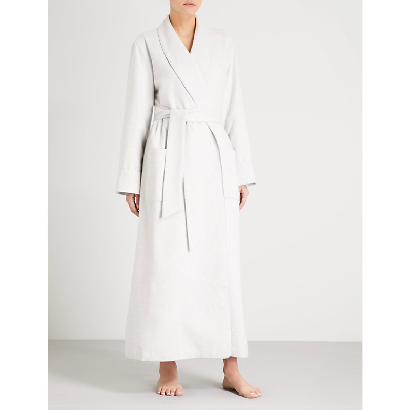 5881213e36 Johnstons Ladies Cashmere Dressing Gown In Light Grey Melange ...