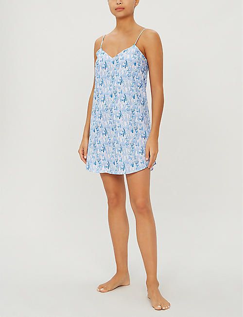 DEREK ROSE Ledbury V-neck cotton nightshirt