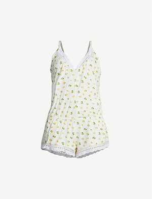 EBERJEY Dianna lemon-print stretch-jersey playsuit