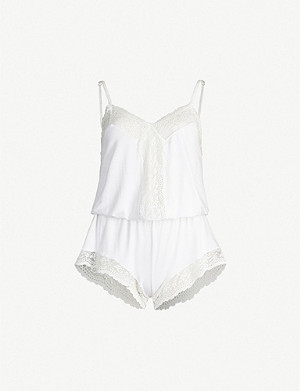 EBERJEY Collette lace-trimmed stretch-jersey playsuit