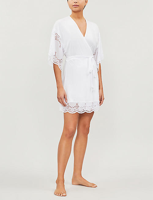 EBERJEY Beatrix flared-sleeve jersey and lace robe