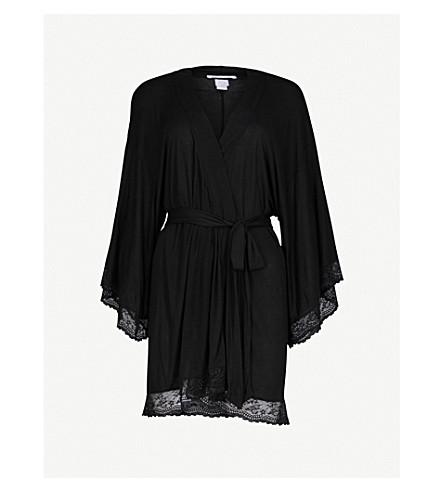 927784715d ... lace-trim jersey robe (Black. PreviousNext
