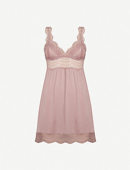 EBERJEY Myla highline jersey and lace chemise