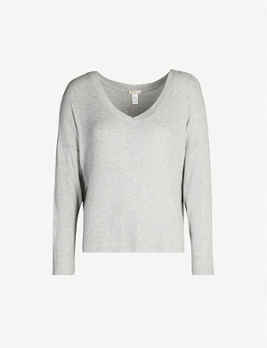 EBERJEY Elon V-neck stretch-rayon jumper