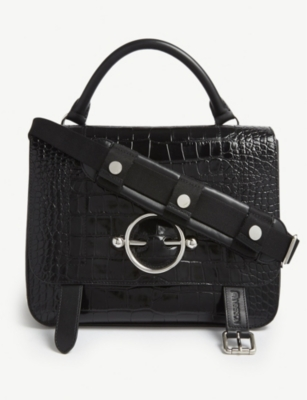 JW ANDERSON Disc reptile-effect leather shoulder bag