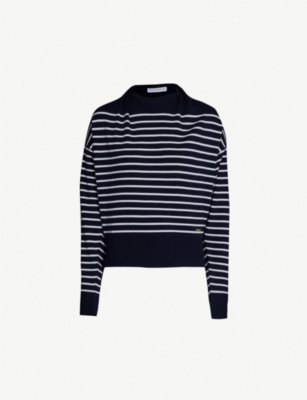 JW ANDERSON Draped-neck striped wool jumper