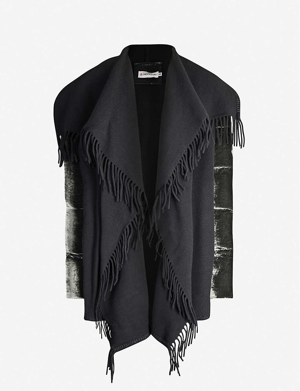 MONCLER: Padded-sleeve shawl-lapel velvour and wool jacket