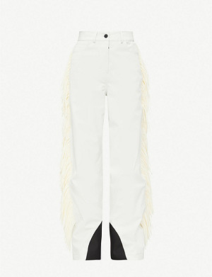 MONCLER GENIUS Fringed high-rise wide shell trousers