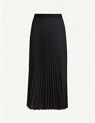 MONCLER: High-rise pleated woven midi skirt