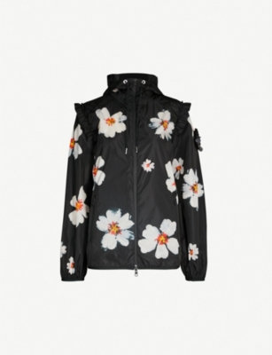 MONCLER GENIUS Moncler Genius x Simone Rocha ruffled-trim floral-print shell hooded jacket