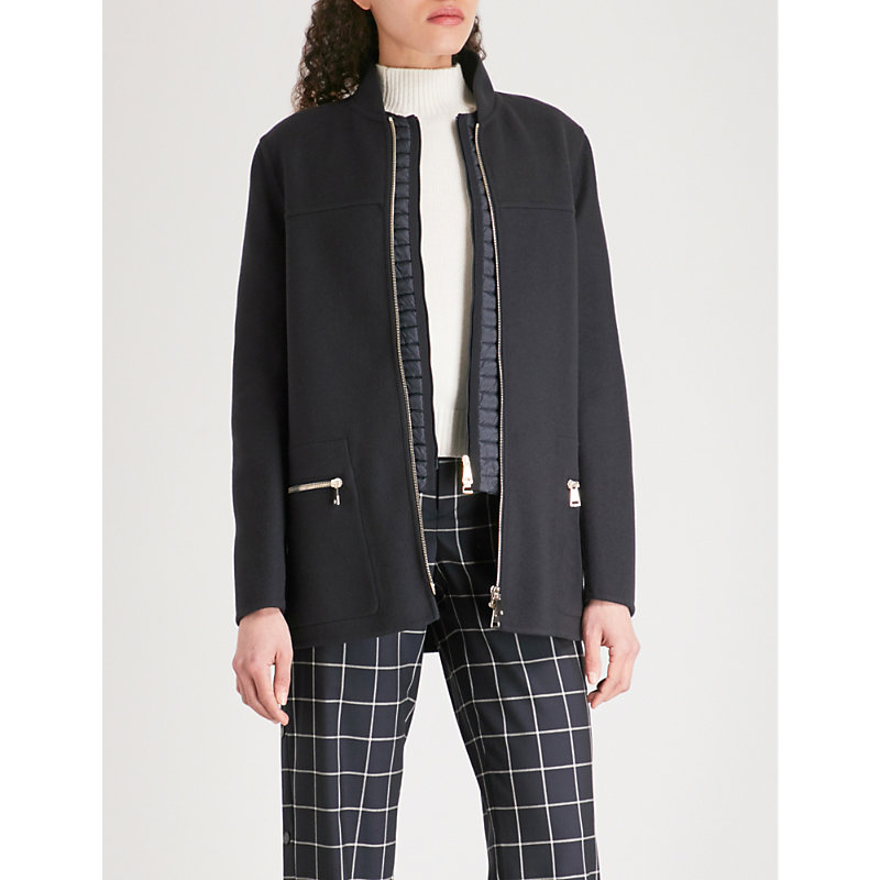 a91f9560d Moncler Anatase Wool And Cashmere-Blend Coat In Navy