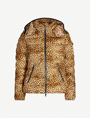 MONCLER Leopard-print padded velour-down jacket