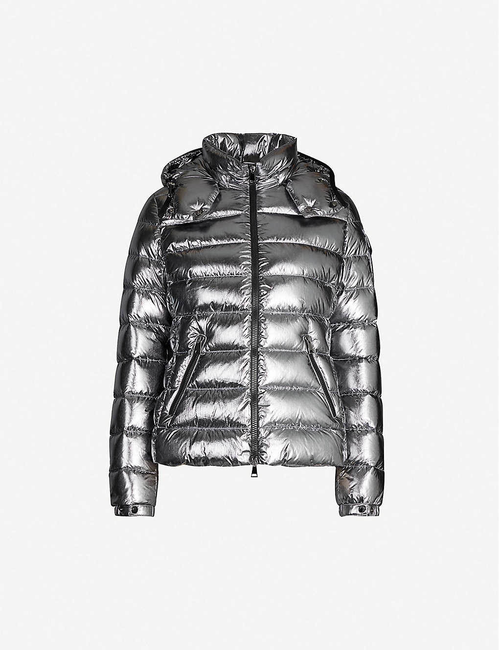 MONCLER: Bady metallic hooded shell-down jacket