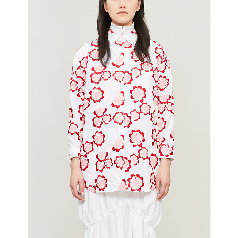 Moncler Genius T-shirts X SIMONE ROCHA OVERSIZED FLORAL-EMBROIDERED COTTON SHIRT