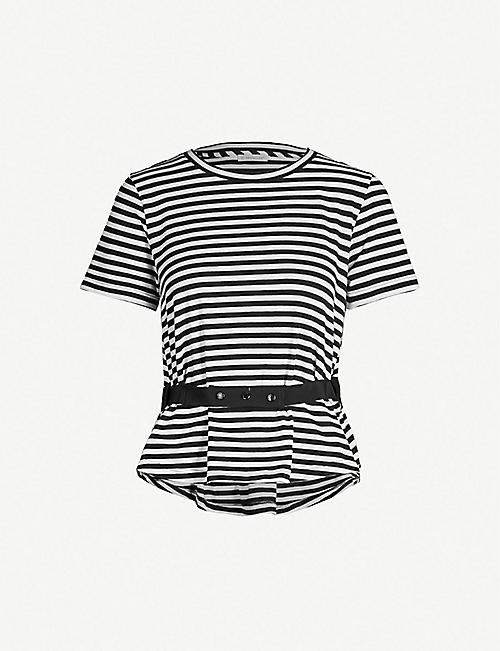 64d3f13d0e5e MONCLER Elasticated-waist striped stretch-cotton T-shirt